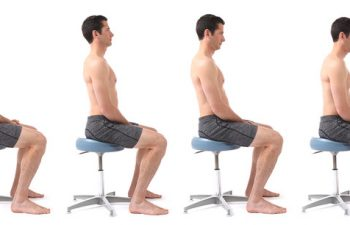 Demonstrates four different sitting postures; man sitting on stool.